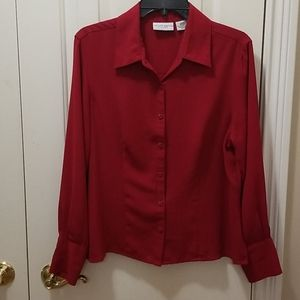 Jaclyn Smith red blouse sz L